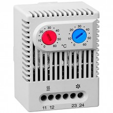 DATO011 Термостат с НO и НЗ контактами | 10А | 0...60°С двухзонный (для нагрева и охлаждения)