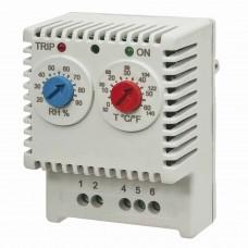 R5ETUH22 Гигротерм электронный, 230 В, регулировка температуры 0…+60°C, регулировка влажности 20…90%, переключающий контакт ДКС