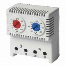 R5THRV13 Сдвоенный термостат с регулируемыми диапазонами температуры -10…+50°C, NС-контакт, +20…+80°C, NO-контакт ДКС